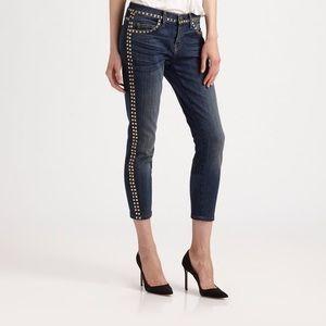Current/Elliott | Cropped Skinny Jeans Brass Stud